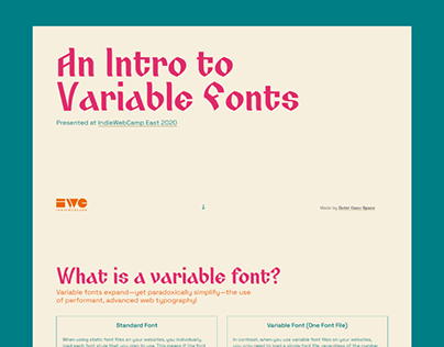 An Intro to Variable Fonts Presentation & Website