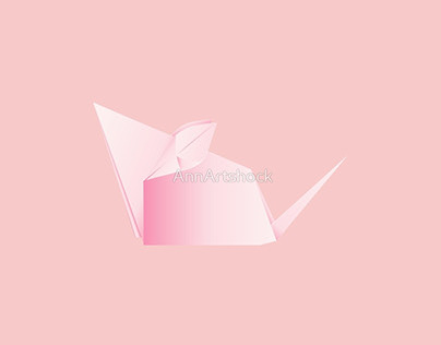 Pink origami mouse