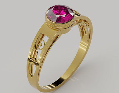 Gold Ring with Ruby - white background edition
