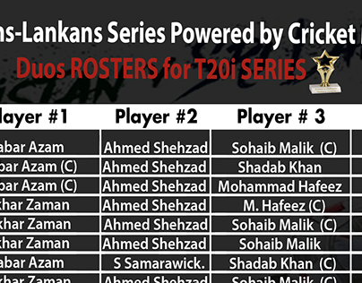 Duos Rosters for T20i Series