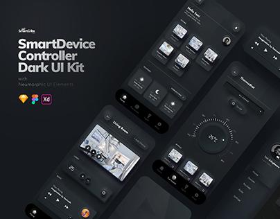 Dark Neumorphic Home Controller UI Kit