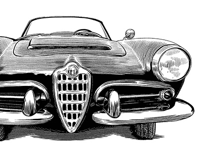 Alfa Romeo vintage car (Adobe Fresco vector brush)
