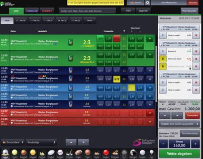 Screendesign für Wettanwendungen