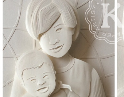 Brothers paper sculpture