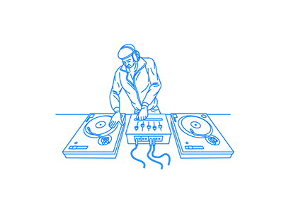 A man manipulating two turntables and a mixer