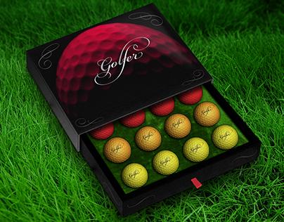 GOLFER (colourful golf balls)