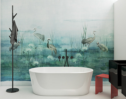 Bathroom with special waterproof wallcovering #khroma