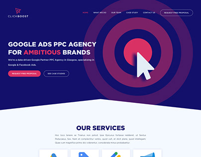 UI concept design for Clickboost Ads Agency