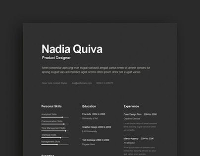 Free Dark Resume Template