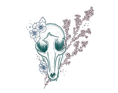Wildflower Fox Skull - Illustration