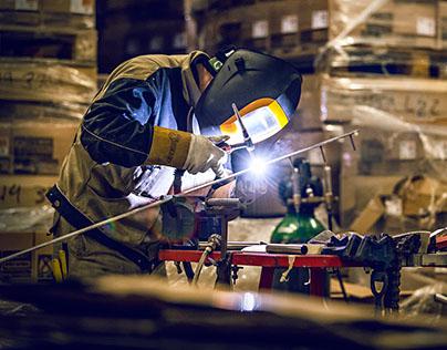 Welder industrial photography