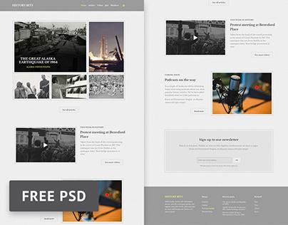 History Bits - History Magazine PSD web template