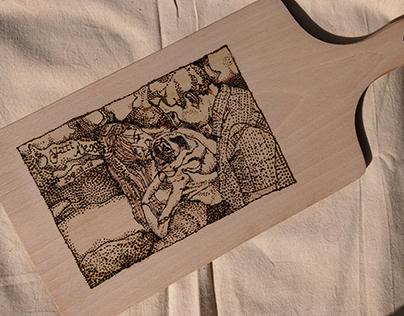 A photo burned in a cutting board