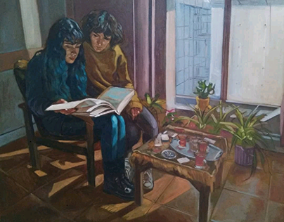 Misha & Negin ,40x50 cm ,oil on canvas ,2018