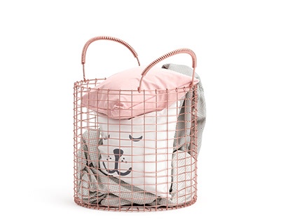 Copper Basket with Pillows and Blankets