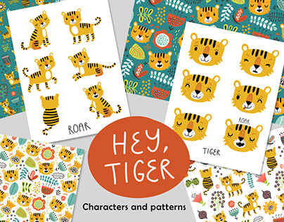 Funny tigers. Characters and patterns