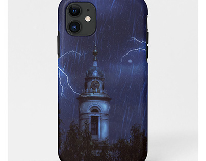 Old chapel and thunderstorm
