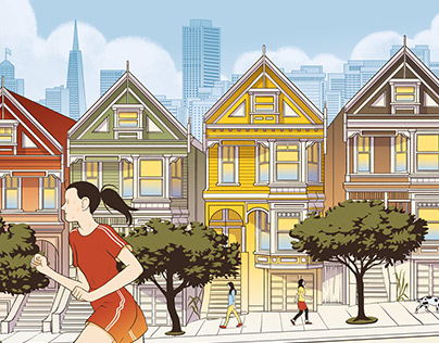 Series of illustrations about city and landscape.