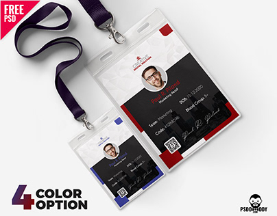 Office ID Cards Design Free PSD Set