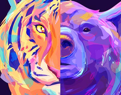 Wild animals (vector illustrations)