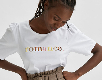 Slogan Embroidery T-shirt // SELECTED FEMME