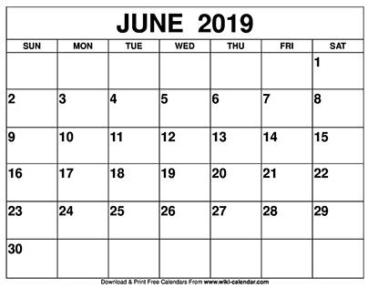 Blank June 2019 Calendar Printable