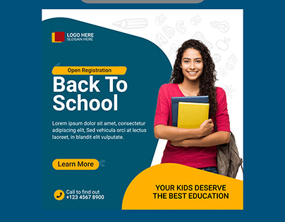 Back to school education social media banner template