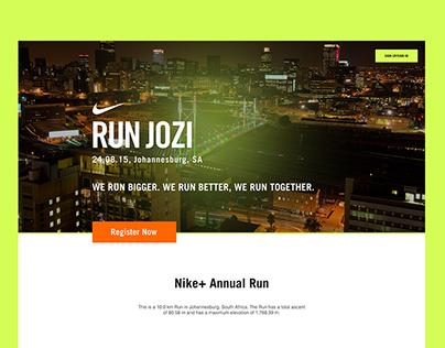 NIKE + Run Jozi Landing Page Redesign