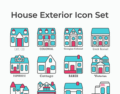 House Exterior icon set - revised