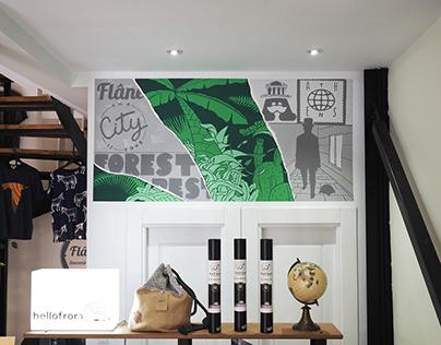 Indoor Mural for Flâneur Souvenirs & Supplies store