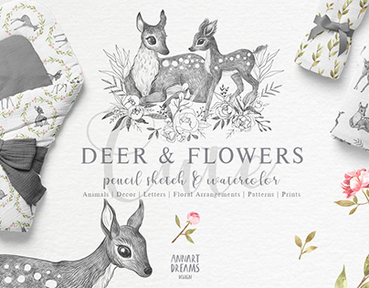 Deer & Flowers. Nature collection