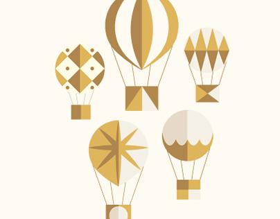 5 Gold Balloons