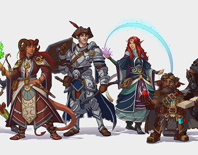 D&D Characters: Cel-Shaded