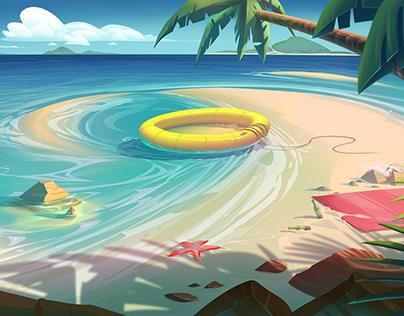 Beach Environment Art