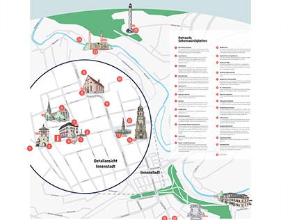 Illustrierter Stadtplan für die Stadt Rottweil