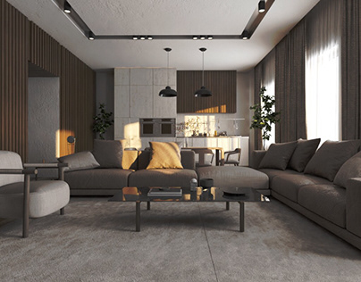 Living room with open kitchen (workshop)