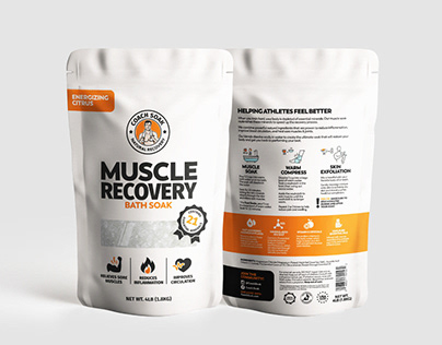 Muscle recovery supplement rebranding and packaging.