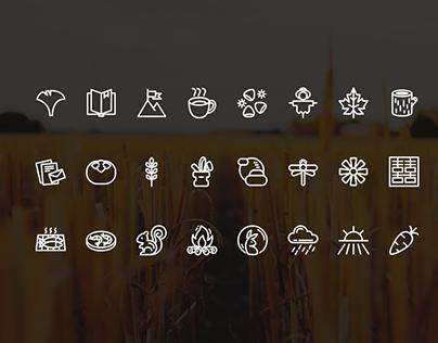 four seasons, autumn icons