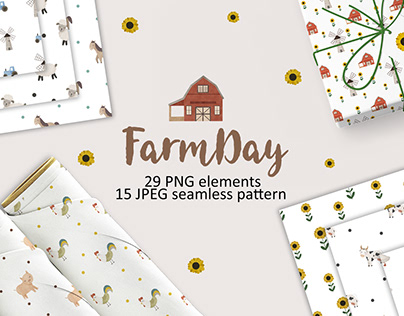 FarmDay illustration and seamless pattern for fabric
