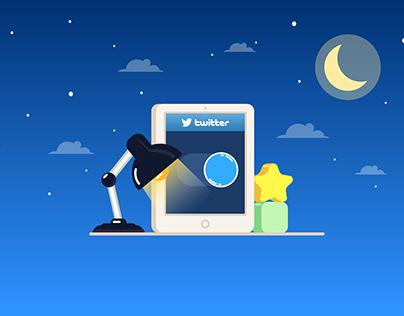 Twitter Day & Night Modes 2D Animation