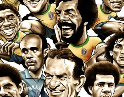 Caricatures of Brasil '82 players. Falcão's book