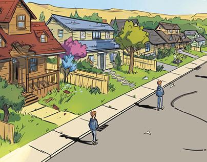 Environment from 'Happy Doomsday' comics.