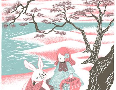 Alice, White Rabbit and Cheshire Cat