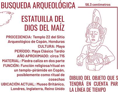 Línea del tiempo de la estatua del dios maya del maíz