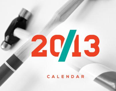 Wood Typography Calendar 2013