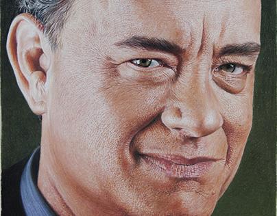 Tom Hanks in colored pencils