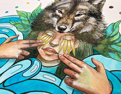 Watercolour illustration FOREST SOUL