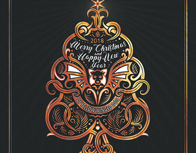 Marry Christmass and Happy New Year 2018 greeting card