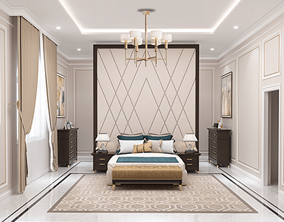 Master bedroom with bathroom in modern classic style
