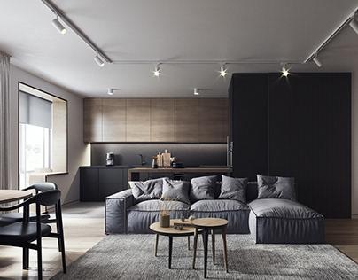 Small apartment. Modern minimalism
